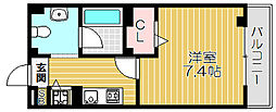Osaka Metro谷町線 大日駅 徒歩10分の賃貸マンション 2階1Kの間取り