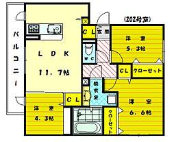 ディアコート三苫B棟[2階]の間取り