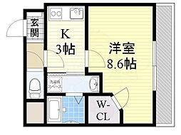 クリスタルマンション 2階1Kの間取り
