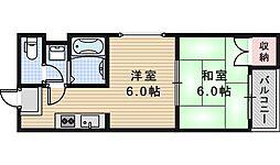 南海高野線 住吉東駅 徒歩10分の賃貸マンション 4階1DKの間取り