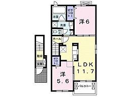 アネサキ 2 2階2LDKの間取り