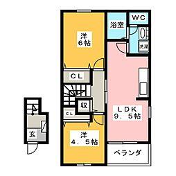 サンクチュアリ B[2階]の間取り