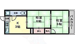 大阪モノレール本線 万博記念公園駅 徒歩23分の賃貸マンション 3階2Kの間取り