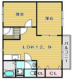 大阪府茨木市新和町の賃貸アパートの間取り