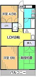 東京都清瀬市旭が丘2丁目の賃貸マンションの間取り