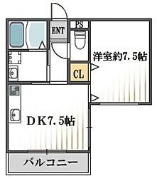 クィーンライフ桑津[4階]の間取り