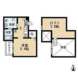 愛知県名古屋市中村区中村町2丁目の賃貸アパートの間取り