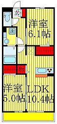 千葉県松戸市北松戸2丁目の賃貸アパートの間取り