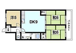 マンションナリタ 4階3DKの間取り