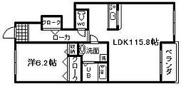 ピアッツァ羽倉崎[102号室]の間取り