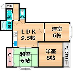 JR片町線(学研都市線) 放出駅 徒歩5分の賃貸マンション 2階3LDKの間取り
