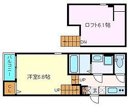 マジェスティ福田町 2階1Kの間取り