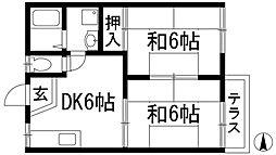 兵庫県川西市見野1丁目の賃貸アパートの間取り