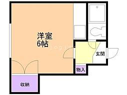 富士マンション暁 3階ワンルームの間取り