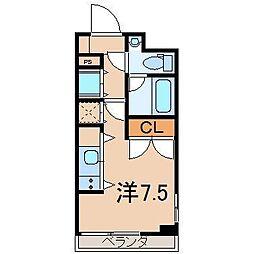 ノヴェルマンション443 2階ワンルームの間取り