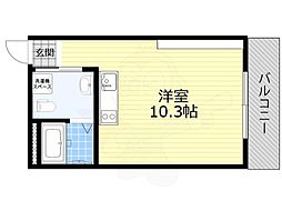 JR東海道・山陽本線 吹田駅 徒歩14分の賃貸マンション 2階ワンルームの間取り