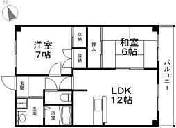 兵庫県たつの市龍野町富永の賃貸マンションの間取り