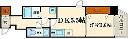 エステムコート南堀江IIIチュラ[14階]の間取り