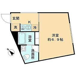 The KOISHIKAWA(ザ小石川) 2階1Kの間取り