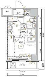 LUMEED川崎 10階1Kの間取り