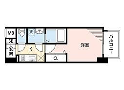 JR東海道・山陽本線 岸辺駅 徒歩4分の賃貸マンション 6階1Kの間取り