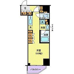 都営浅草線 三田駅 徒歩7分の賃貸マンション 3階ワンルームの間取り