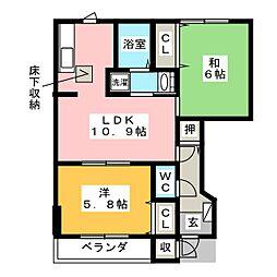 プラムフィールド A[1階]の間取り