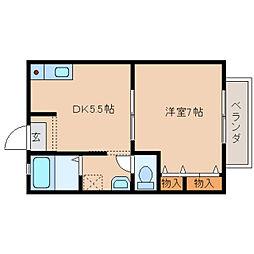 奈良県奈良市奥芝町の賃貸アパートの間取り