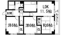 兵庫県宝塚市山本中3丁目の賃貸マンションの間取り