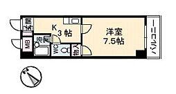 バス 牛田本町一丁目下車 徒歩2分の賃貸マンション 2階1Kの間取り