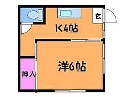 東京都調布市東つつじケ丘1丁目の賃貸アパートの間取り