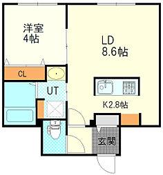JR函館本線 厚別駅 徒歩1分の賃貸マンション 3階1LDKの間取り