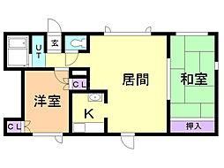 セカンドハウス 2階2LDKの間取り