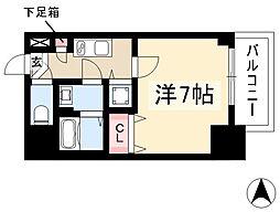 エスプレイス鶴舞ガーデンテラス 7階1Kの間取り