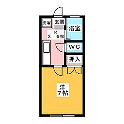 第三シャトー夏山 3階1Kの間取り