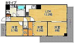 クリアクレセント住之江[10階]の間取り