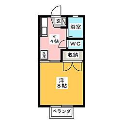 ドミール青笹A[2階]の間取り