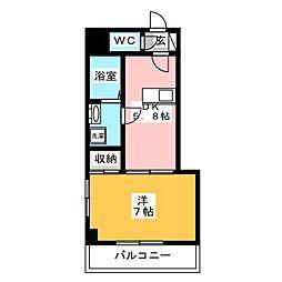 ロゼットIII 9階1DKの間取り