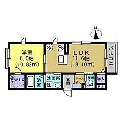 仮)川崎区藤崎1−1シャーメゾン[201号室]の間取り