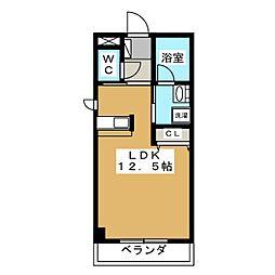 Kanihouse(カニハウス) 2階ワンルームの間取り