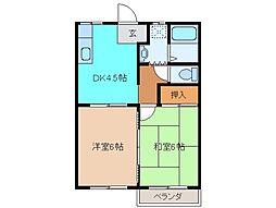 三重県松阪市嬉野中川町の賃貸アパートの間取り