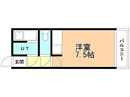 シャトー414 3階ワンルームの間取り