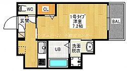 岡山電気軌道清輝橋線 清輝橋駅 徒歩12分の賃貸アパート 3階1Kの間取り