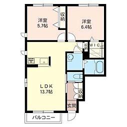 シャーメゾンA[1階]の間取り