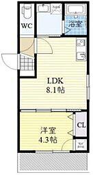 JR関西本線 平野駅 徒歩5分の賃貸アパート 1階1LDKの間取り