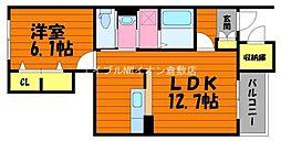 岡山県総社市井尻野丁目なしの賃貸アパートの間取り