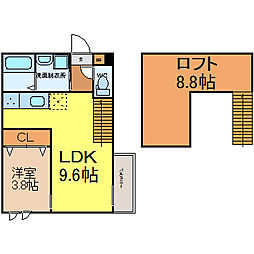 愛知県名古屋市中村区西米野町3丁目の賃貸アパートの間取り
