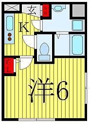 コンフォシード東坂下 5階1Kの間取り