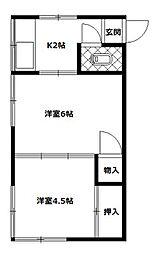 佐藤荘 2階2Kの間取り