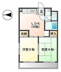 11a グリーンサンハイツ[2階]の間取り